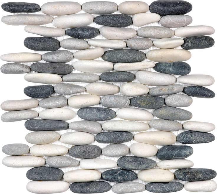Tranquil Cool Blend Stacked Pebble #Mosaic www.anatoliatile.com