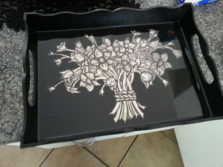 Pewter Tray with Pratliglo to create a glass like finish.