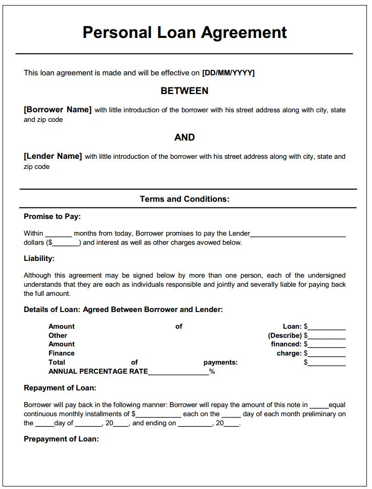 Personal loan agreement printable agreements private loan Pinterest #SampleResume #LoanContractTemplate
