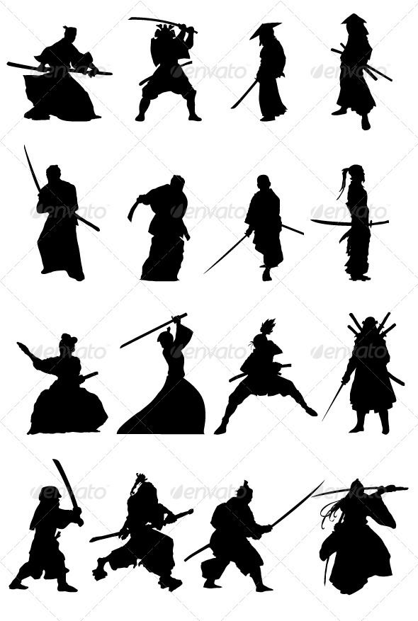Samurai Silhouettes Set | Graphic prints, Graphics and ...