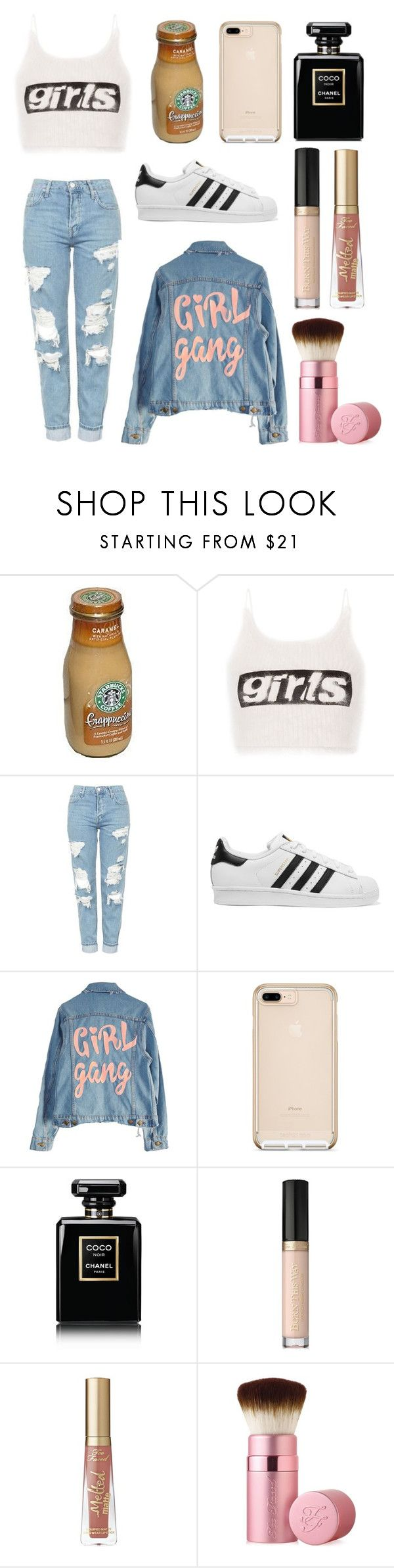 """""""girls"""" by soph-133 ❤ liked on Polyvore featuring Alexander Wang, Topshop, adidas Originals, High Heels Suicide, Chanel and Too Faced Cosmetics"""