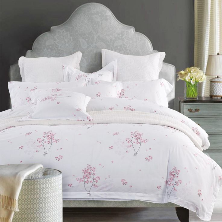cotton luxury hotel bedding sets with simple print twin queen king size double bed linen duvet cover set cherry blossoms