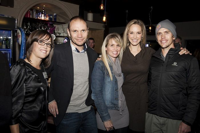 Katie Armstrong, Robert Bateman and Kelly Burke from Flux Communications, with celebrity couple Vanessa Haywood and Ryan Sandes