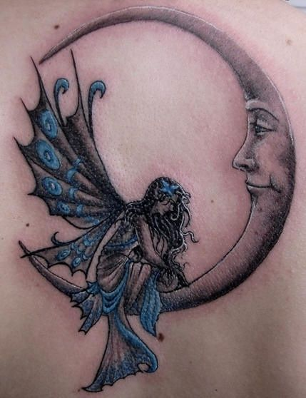 Angel Fairy Tattoo Designs | Moon Tattoo fairy tattoo angel