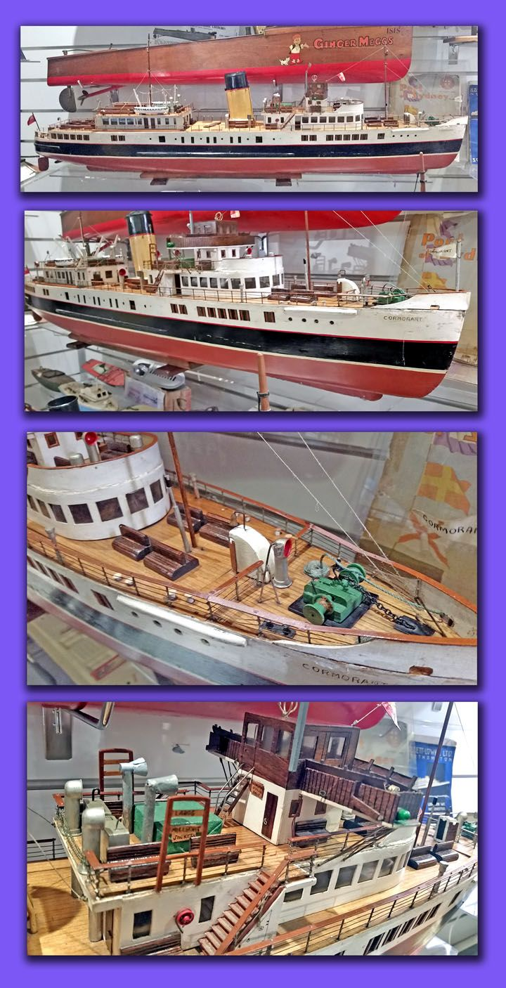 Maritime Model Museum: BRITISH COASTAL FERRY A donated model of a British Coastal Ferry of the 1950's with original electric motor. This model was restored in our workshop $1,500