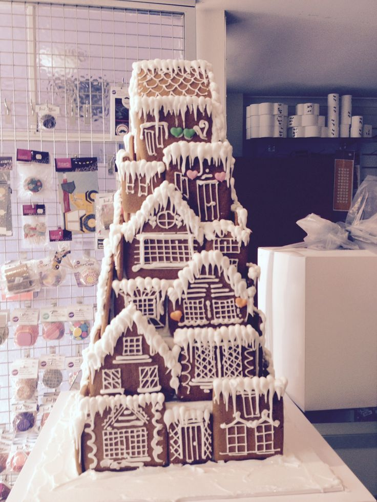 This was my first attempt at multi tiered gingerbread house. Sold in 5 minutes :)