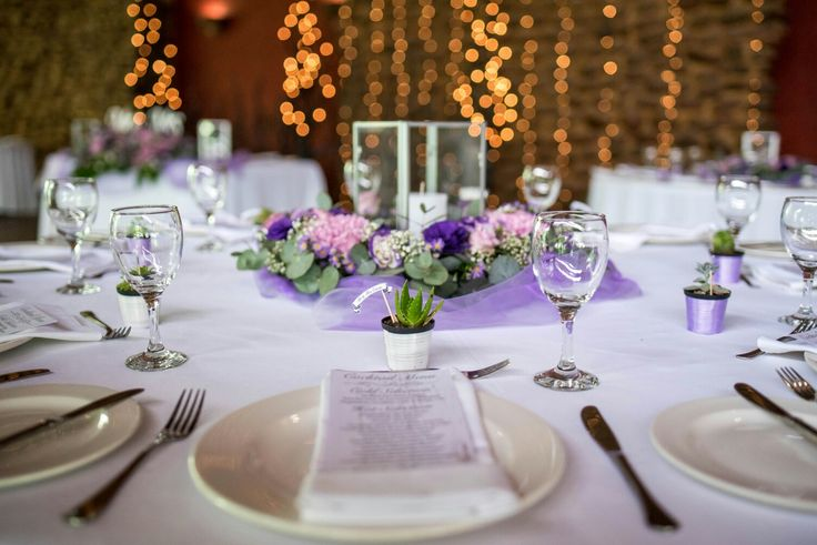 Sometimes simple is better. Stunning table settings. Lavender and white