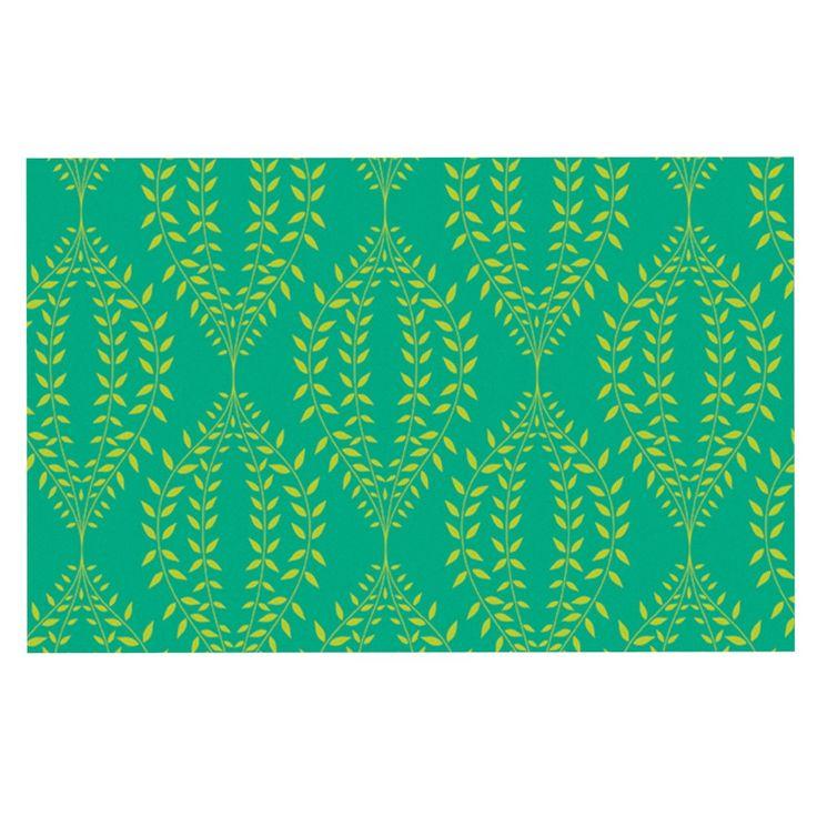 """Anneline Sophia """"Laurel Leaf Green"""" Teal Floral Decorative Door Mat"""