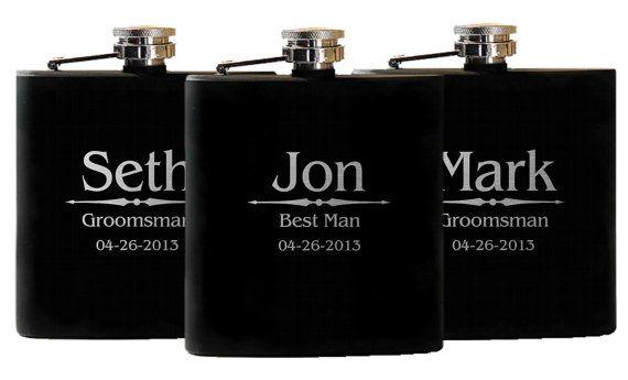 Groomsmen Flasks Personalized Gift Wedding by UrbanFarmhouseTampa