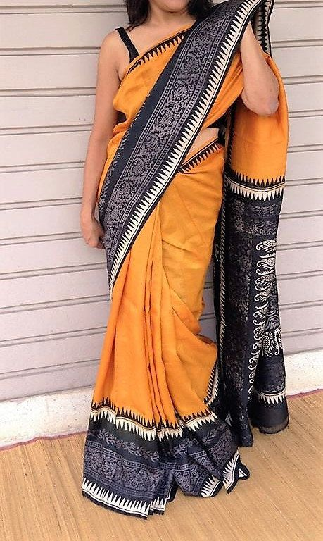 Handblock prints on Mysore Silk in a grey and bright mustard combo by GlamInfinity on Etsy