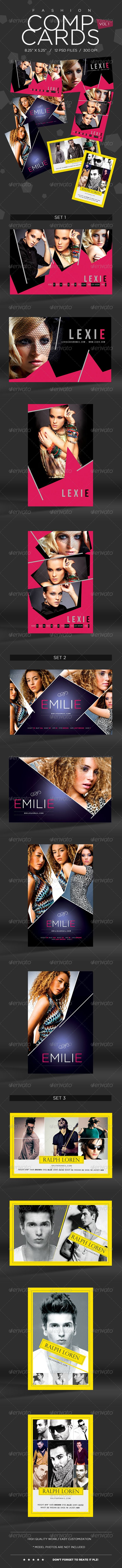 """Model Comp Card Template Kit Vol1  #GraphicRiver         SPECIFICATIONS: 1) Dimensions: 8.25"""" by 5.25"""" in size with bleeds 2) Resolution: 300 dpi CMYK / ready for print 3) Editable fonts/text 4) Easy to change colors 5) JPEGS included 6) Properly Layered 12 Photoshop Files 7) Help file included  color options / different styles  FONTS USED: 1) Bebas Neue 2) Agency FB 3) Gotham 4) Perpetua Titling MTe 5) Myriad Pro (System font)"""