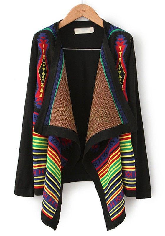 Multicolor Geometric Color Block Irregular Cotton Blend Cardigan