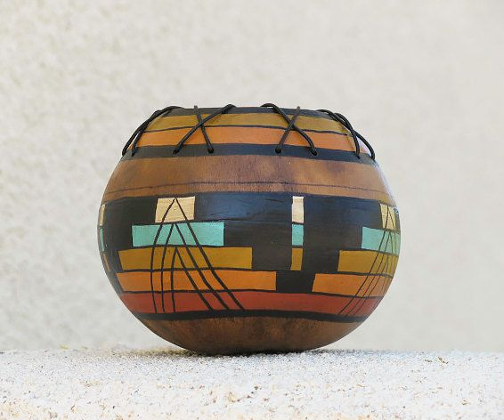 Southwestern Hand-painted Gourd Pot #624 Geometric Design