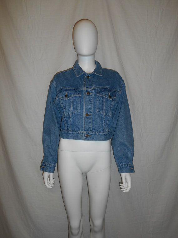 90s Denim Blue Jean Jacket Crop Denim Jacket by ATELIERVINTAGESHOP