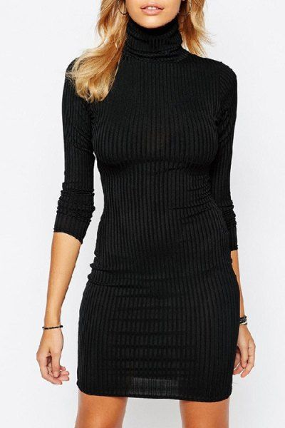Turtleneck Pure Color Sheath Dress BLACK: Bodycon Dresses | ZAFUL