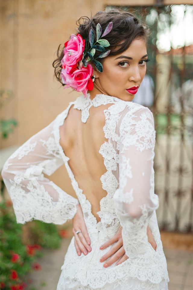 I LOVE this open back wedding dress and the hair!! Such a gorgeous Mexican inspired wedding look /Jason Tey Photography.