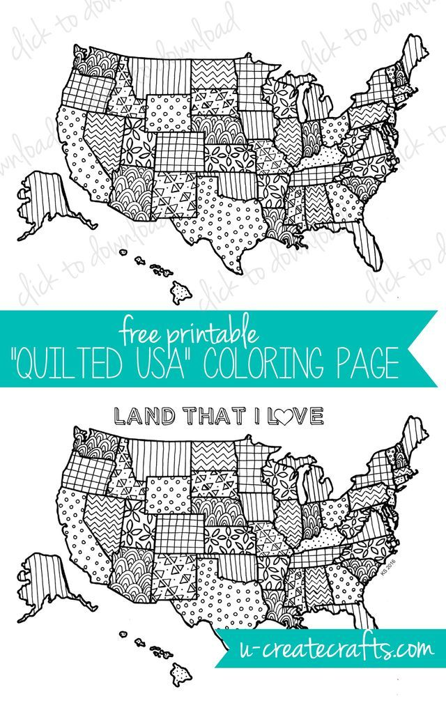 "My latest free coloring page is called ""Quilted USA"" and it's one of my very favorites! I've included two different versions … one with the quilted design and another one with the added words ""Land th"