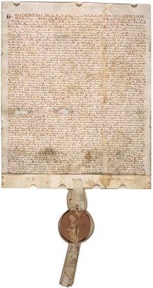 Magna Carta —Un des exemplaires rédigé à l'occasion de la « Confirmatio Cartarum », confirmation des chartes concédée début 1297 par Édouard et abrogée en 1305. Il est exposé depuis 2007 aux Archives nationales de Washington.