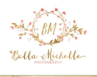 Items similar to Premade Photography Logo / hand drawn feathers flowers Watercolor Design / Monogram on Etsy