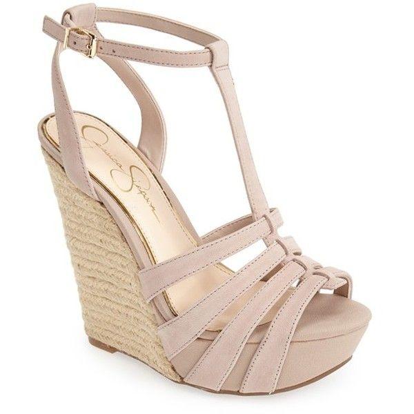 "Jessica Simpson 'Bristol' Ankle Strap Platform Wedge Sandal, 5"" heel ($53) ❤ liked on Polyvore featuring shoes, sandals, wedges, heels, sapatos, sandbar, ankle strap heel sandals, heeled sandals, high heeled footwear and wedge heel sandals"