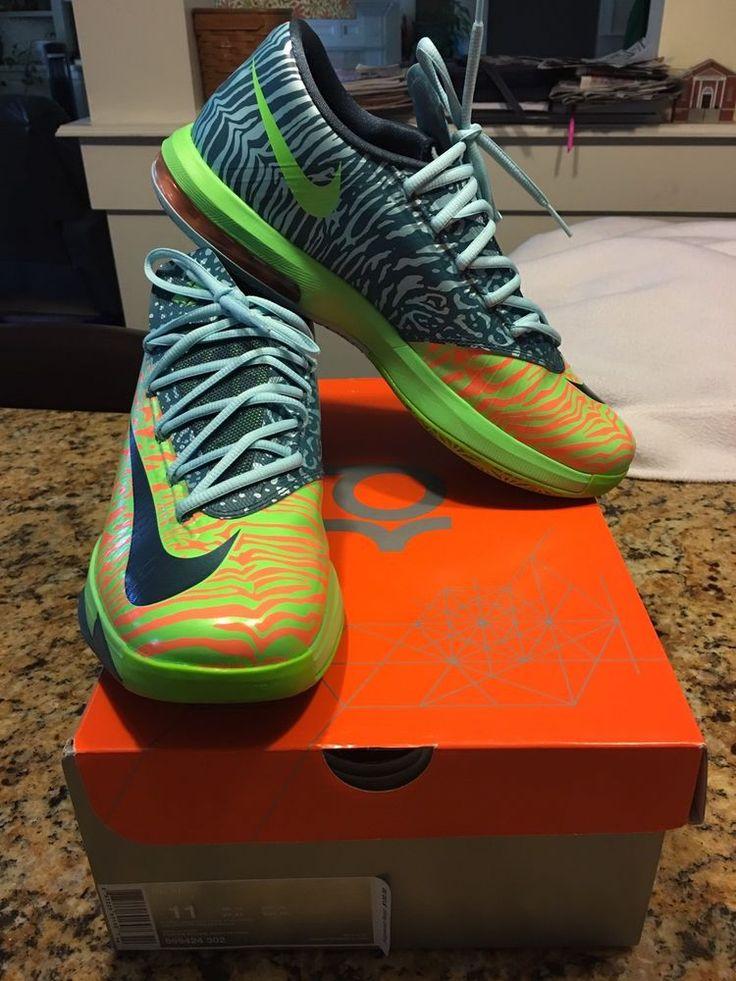 Nike KD VI  Sz 11 Electric green factor Atomic Orange Basketball Shoes Men's