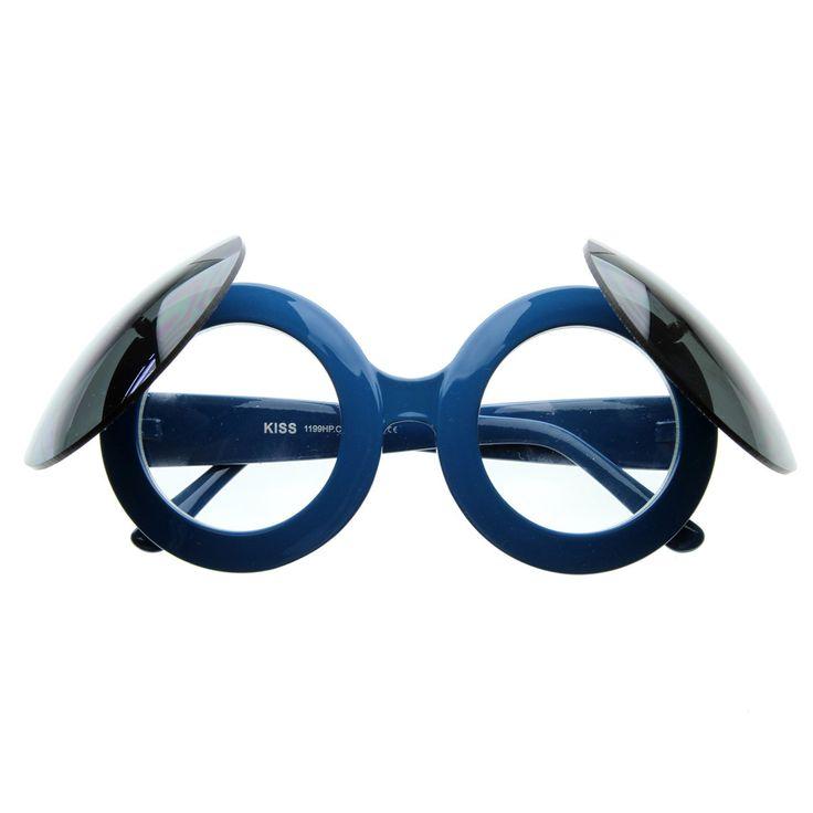 Large Designer Round Circle Flip-Up Dual Lens Glasses / Sunglasses