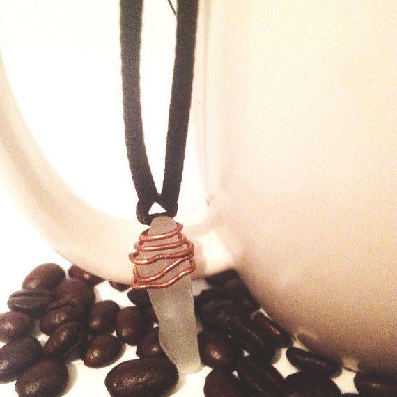 Sea Glass Necklace  Raw Stone Jewellery  by SoulAndStoneStudio