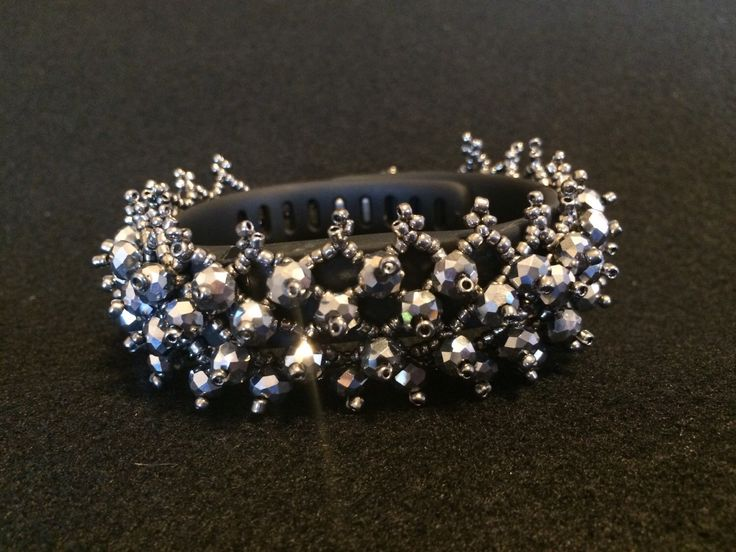 """Beaded TrackerStackers: """"Atomic"""" Bracelet Cover Enhancer Silver for FitBit Flex Charge Surge Jawbone Up Garmin Activity Tracker by TrackerStackers on Etsy https://www.etsy.com/listing/232406074/beaded-trackerstackers-atomic-bracelet"""