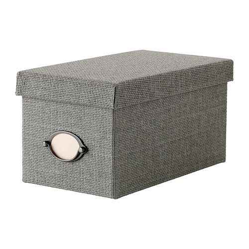 IKEA - KVARNVIK, Box with lid, grey, 16x29x15 cm, , Suitable for storing your CDs, games, chargers or desk accessories.The included label holder helps you to create an overview to quickly find your things.