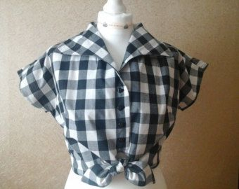 ladies fitted tie up cropped blouse in black and white gingham size 12
