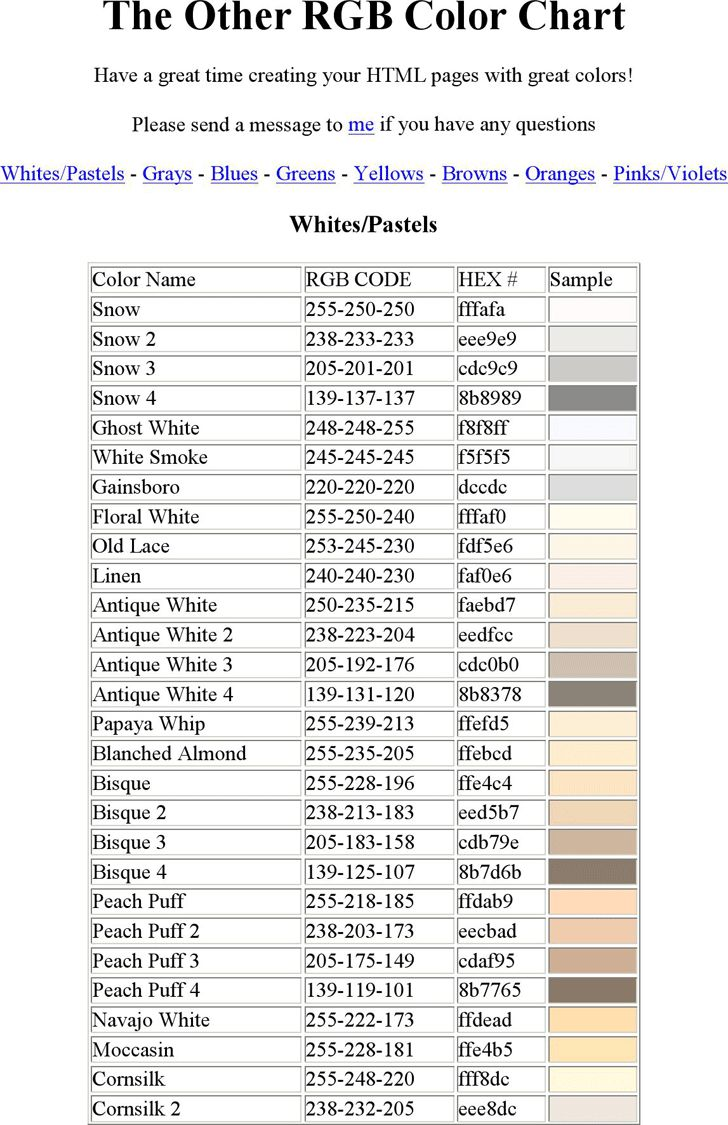 Pages rgb color - Preview Of One Chart Of The Free Pdf Doc The Other Rgb Color Chart