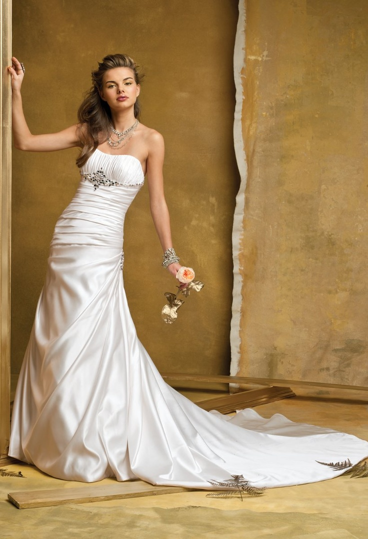 Hollywood Glam Modern Romantic Ivory White $ - $700 and under A-line Beading Empire Floor Group USA & Camille La Vie Pick Ups Pleats Ruching Satin Strapless Wedding Dresses Photos & Pictures - WeddingWire.com