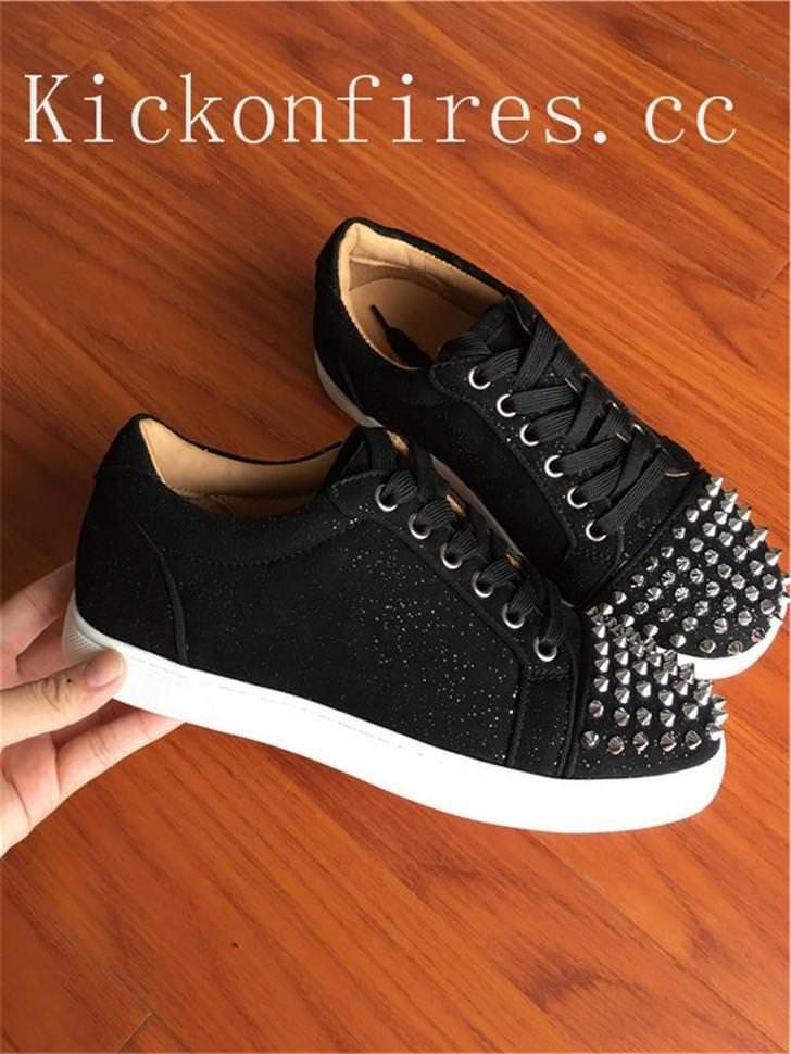 the latest eda29 1890c Christian Louboutin Low Top Spikes Glitter Black Flat ...