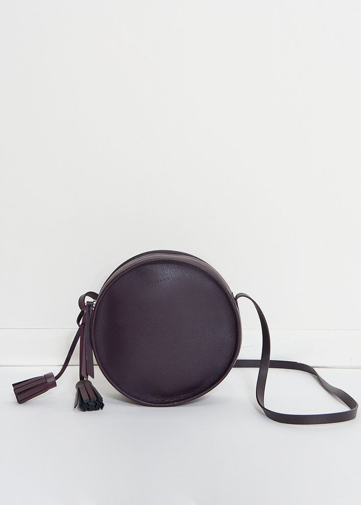 """#newarrivals #lejunev #thefrankieshop #frankienyc Round, Circle Bag w/Zip Closure & Attached, Adjustable Shoulder Strap & Detachable Tassel 8"""" Circumference 100% Leather By Le Junev. Imported"""
