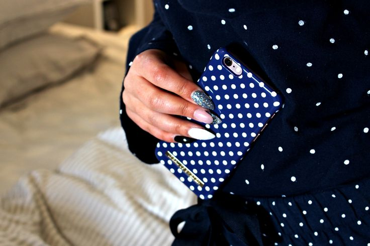 Blue Polka Dots by lovely @rebeckakärrbring - Fashion case phone cases iphone inspiration iDeal of Sweden #Pokadots #blue #marin #fashion #inspo #iphone