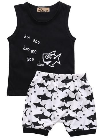 dc829381eb51 baby summer 2pcs suit!! newborn kids baby boys clothes set letter printed  sleeveless tops + shark printed shorts outfits