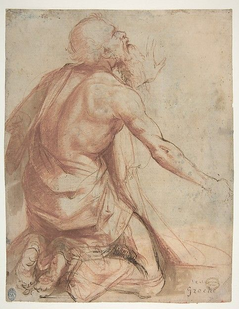 Attributed to Nosadella (Giovanni Francesco Bezzi) (Italian, ca. 1500–1571). Kneeling Bearded Old Man (recto); Section of a Draped Limb and Sketches (verso), 1500–1571. The Metropolitan Museum of Art, New York. Gift of Cornelius Vanderbilt, 1880 (80.3.487)