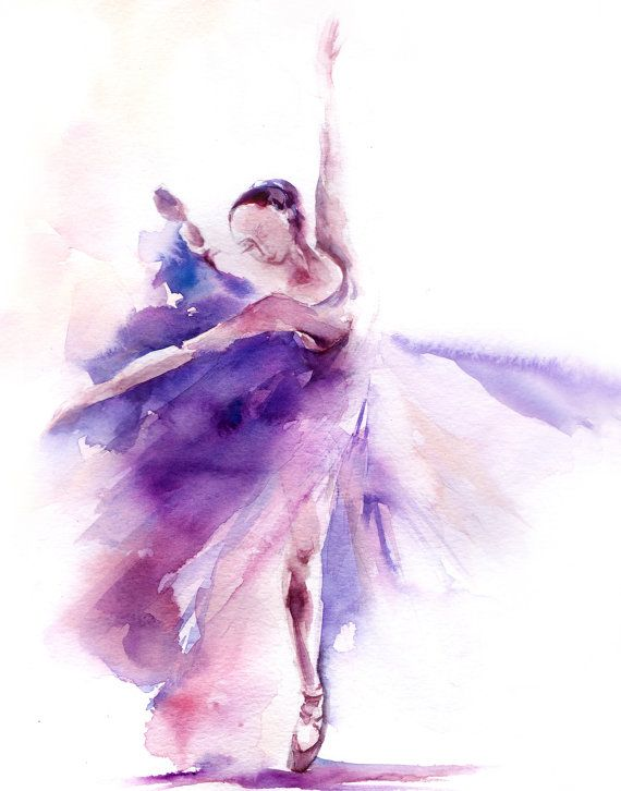 Ballerina in purple art print, ballerina watercolor print, dance ballet wall art print, loose style purple painting of ballerina