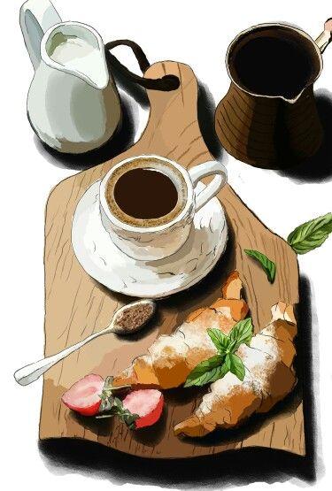 #breakfast #sketch #food #foodsketch #art #digital #digitalart #kitchen #круасан #кофе #coffee #фудскетч #скетч