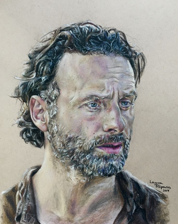 Colored pencil drawing of Andrew Lincoln as Rick Grimes from The Walking Dead by Laura Filipovics