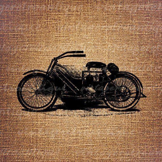 Digital Printable Old Motorcycle Antique by VintageRetroAntique