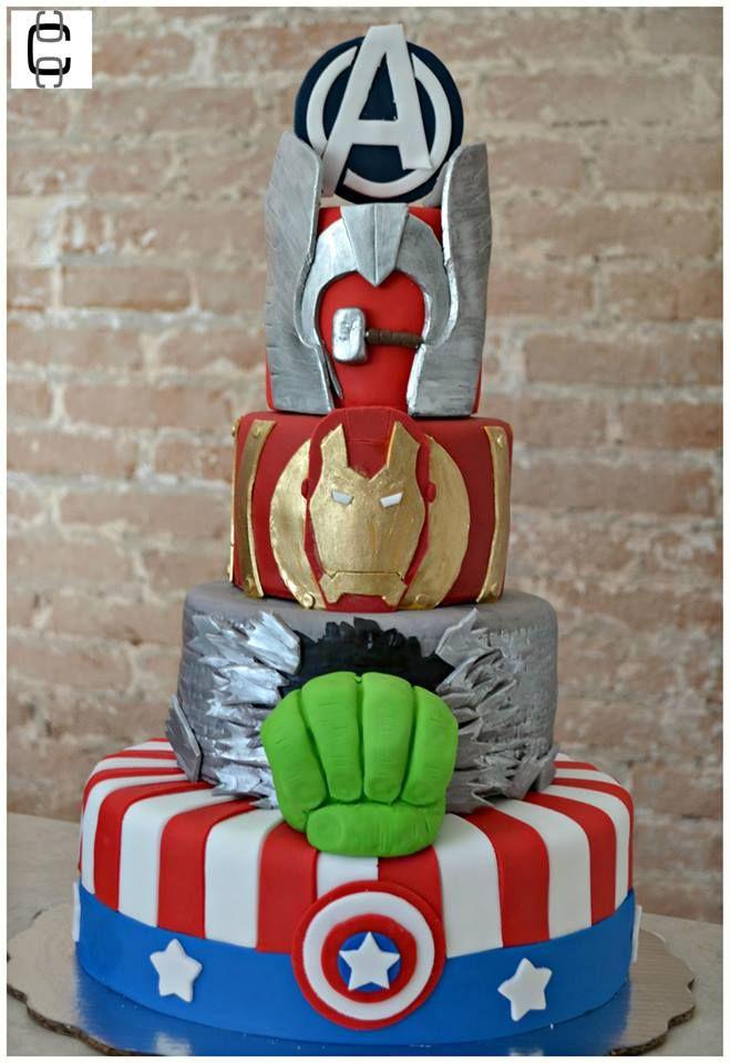 AVENGERS BIRTHDAY PARTY IDEAS / SUPERHEROES PARTY IDEAS / AVENGERS FONDANT CAKE IDEAS / HULK, AMERICAN CAPTAIN, IRONMAN, THOR CAKE / PASTEL DE AVENGERS