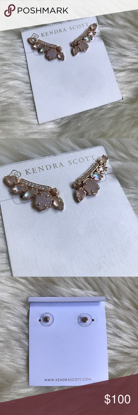 Kendra Scott Madison ear climbers New, never worn KS Madison ear climbers. Such a statement maker that are so so pretty and beautiful rose gold, peach, and pink hues. Rose gold metal and sold out at all retailers Kendra Scott Jewelry Earrings