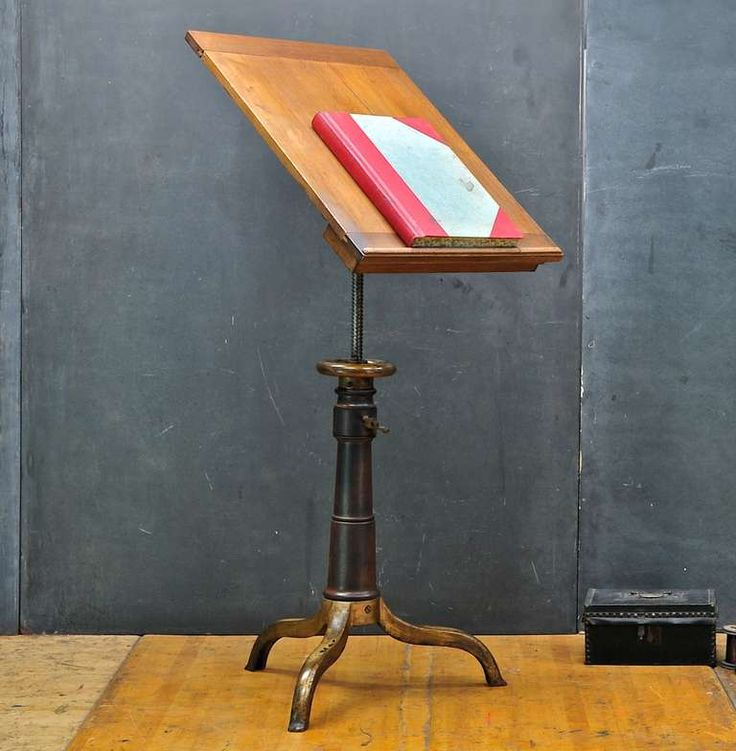 1870's Victorian Wood & Cast Iron Drafting Table Podium | From a unique collection of antique and modern desks and writing tables at http://www.1stdibs.com/furniture/tables/desks-writing-tables/1870s-victorian-wood-cast-iron-drafting-table-podium/id-f_906817/#