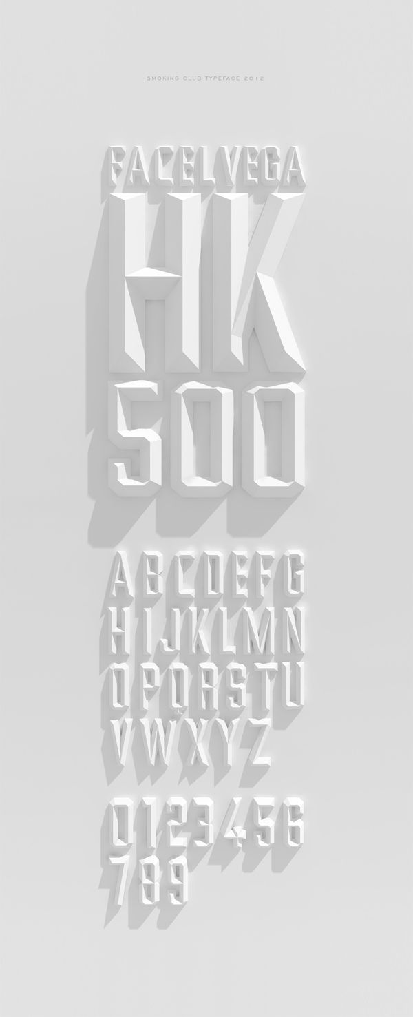 Talk about rad ambient occlusion | Smoking Club typeface by Rodrigo Aguadé, via Behance
