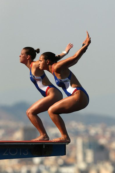 Samantha Bromberg and Cheyenne Cousineau of USA compete in the Women's 10m Springboard Diving final on day three of the 15th FINA World Championships at Piscina Municipal de Montjuic on July 22, 2013 in Barcelona, Spain.