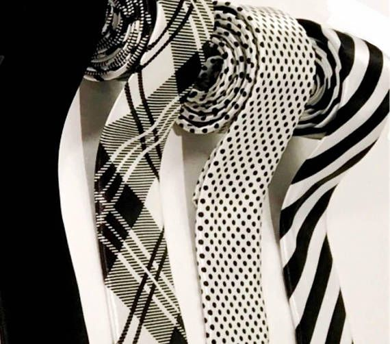 Wedding Tie Set of 4 Black White Patterned Ties Skinny 1.75