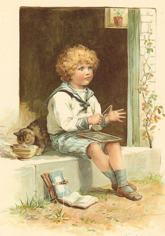 Antique Victorian 1897 Ernest Nister Childrens Print Blonde Curly Haired Boy Sitting On Step Counting Chalk Board Book Plate Illustration