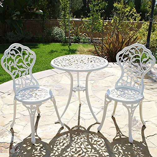 Belleze Outdoor Patio Furniture Leaf Design Bistro Set in Antique White For Sale https://patioporchswings.info/belleze-outdoor-patio-furniture-leaf-design-bistro-set-in-antique-white-for-sale/