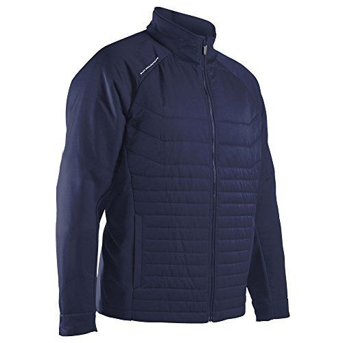 Ideal for cooler days, the Hybrid combines the warmth of quilted body panels with motion-friendly stretch panels. The Hybrid Jacket has quilted front and back panels with stretch panels under the arm and through the elbow to maximize warmth and freedom of movement. Windproof, quilted panels for...  More details at https://jackets-lovers.bestselleroutlets.com/mens-jackets-coats/lightweight-jackets/golf-jackets/product-review-for-sun-mountain-hybrid-golf-jacket-2018-navy-xx-l